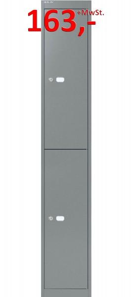 Bisley Office Garderobenschrank CLK182807, 2 Fächer, stahlsilber glatt lackiert
