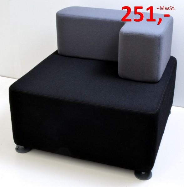 B Free Lounge Würfel - Sessel, links - schwarz/grau