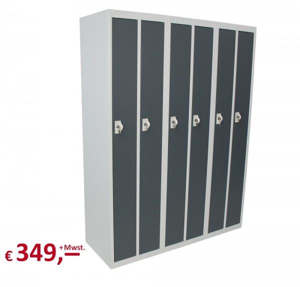Spind / Schließfachschrank - 6 Abteile - lichtgrau/basaltgrau - abschließbar - originalverpackt