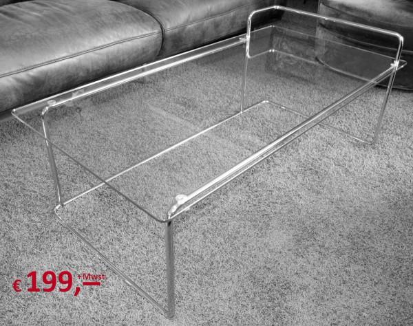 Cameo - Tisch in Glas und Chrom - Ausstellungsstück - Sicherheitsglas - Stahlrohr verchromt