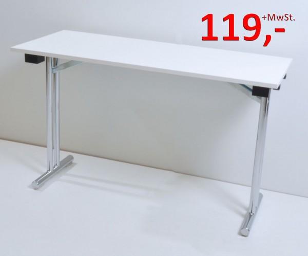 Klapptisch - 120 x 50 cm - weiß/Chrom - Hiller