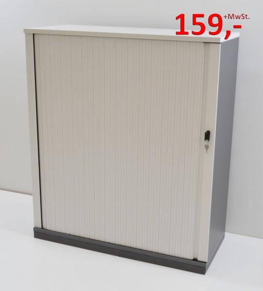 Querrollladenschrank - 3 OH, Griffleiste, schmale Lamellen - weiß, anthrazit - Steelcase