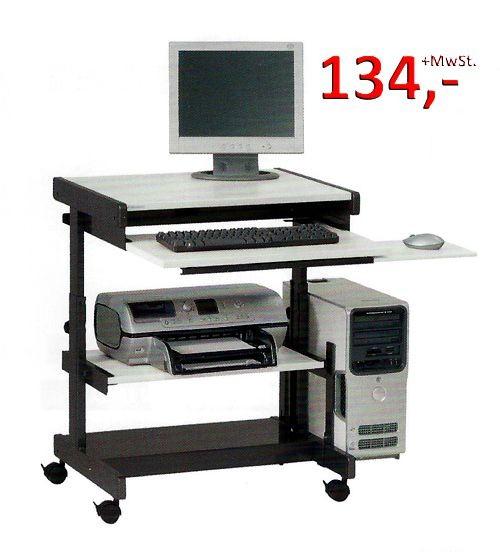 PC-Tisch Euro H - höhenverstellbar, Buche hell / anthrazitmetallic - Vielhauer