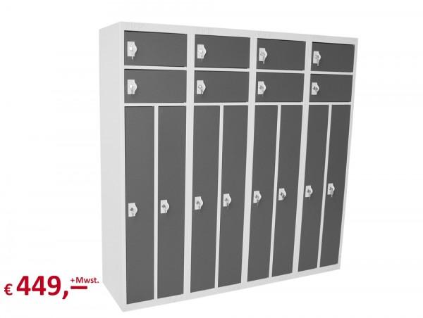 Spind / Schließfachschrank - 16 Schließfächer - lichtgrau/basaltgrau - abschließbar - originalverpac