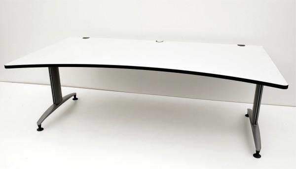 Schreibtisch - 200 cm - Cockpitform - weißgrau - Schärf