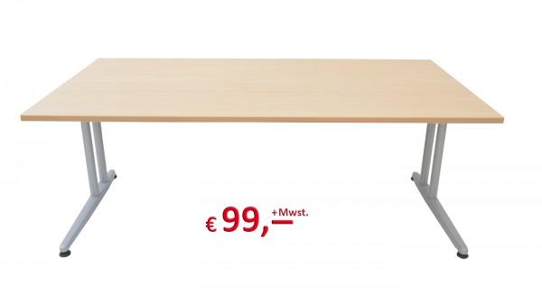 Schreibtisch - 180 cm - C-Fuß Gestell - Ahorn - Schärf