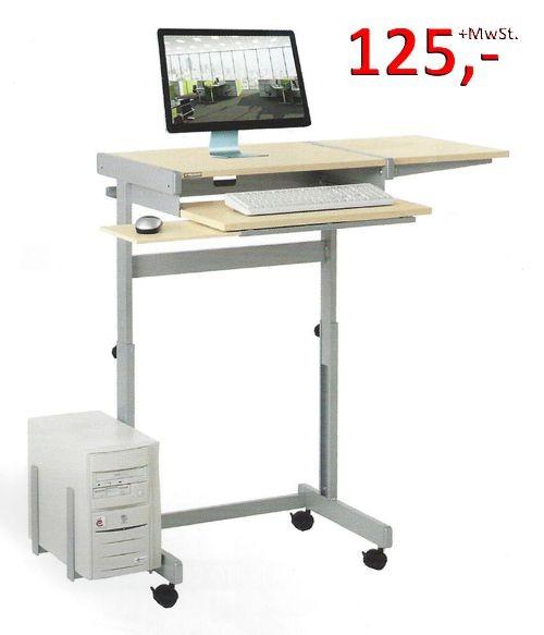 PC-Tisch Euro FS - höhenverstellbar, lichtgrau / silbermetallic - Vielhauer