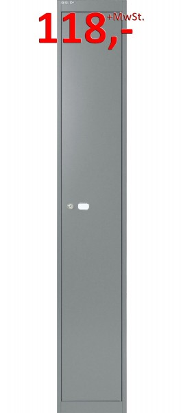 Bisley Office Garderobenschrank CLK181307, 1 Hutfachboden, stahlsilber glatt lackiert
