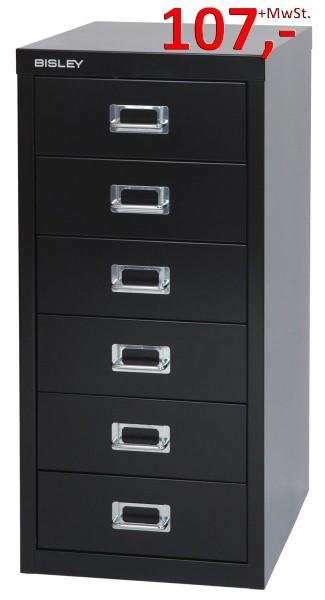 Bisley Schubladenschrank Multidrawers L296333, 6 Schubladen, DIN A4, schwarz glatt lackiert
