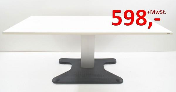 Rose + Krieger Schreibtisch - 180 cm, elektrisch höhenverstellbar - weiß - Platte neu
