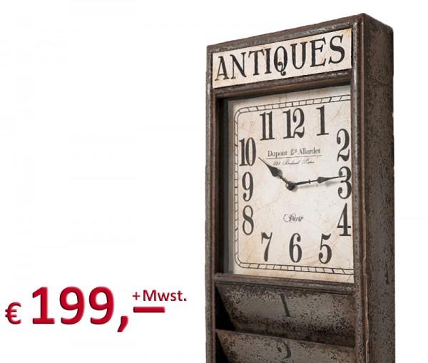 Kare Design - Standuhr - Antique Kontor - 190 cm - Zeitungsständer