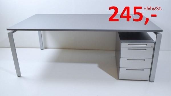 Schreibtisch - 200 cm - mit Rollcontainer - anthrazit / silber - Bene