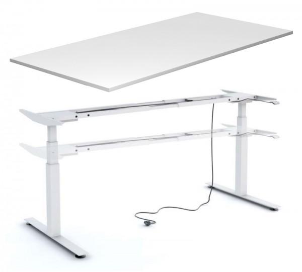 Schreibtisch 160 cm, elektr. höhenverstellbar - Heyne-Ergo-Aktiv - Icy white / Gestell: weiß