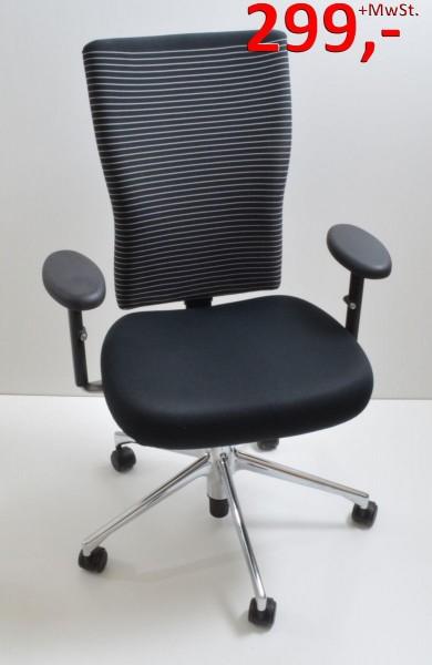 Drehstuhl T-Chair - schwarz/weiß, fein gestreift - Vitra