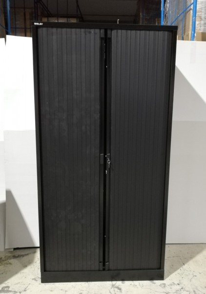 Bisley - Querrollladenschrank - 5 OH - 4 Fachböden - Metall schwarz - Rollladen schwarz