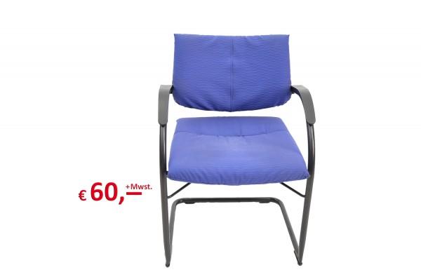 Freischwinger / Besucherstuhl mit Armlehnen blau
