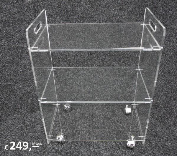Plexiglas - Beistell-/Rollwagen - 3 Böden - originalverpackt - zerlegt