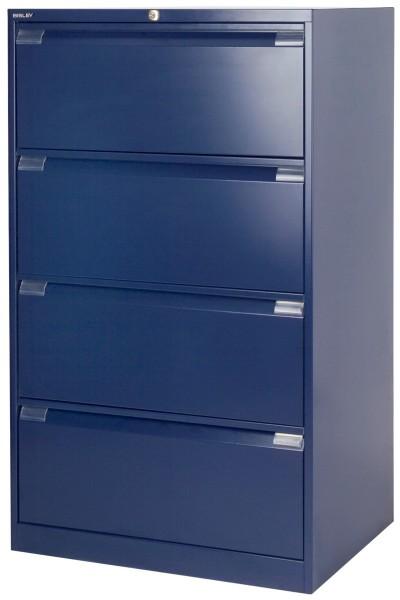 Hängeregistraturschrank DF4 mit Griffleiste, doppelbahnig, 4 HR-Schubladen, DIN A4, oxfordblau