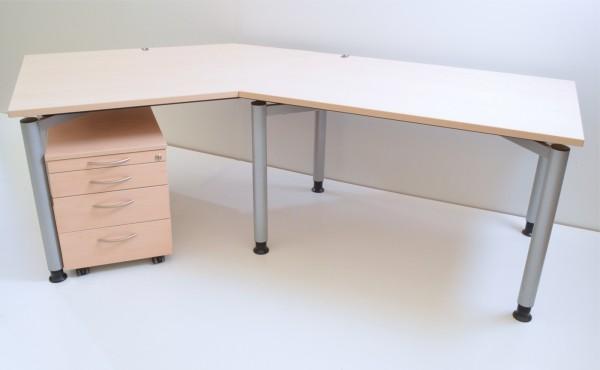 Freiform-Schreibtisch - 240 cm - mit Rollcontainer - Ahorn Dekor - Kinnarps