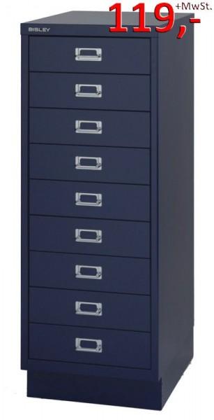 Bisley Schubladenschrank DIN A3, 9-Schubladen, mit Sockel, blau - Neuware