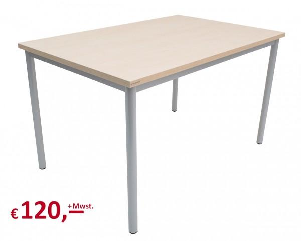 Vielhauer - Beistelltisch - 120 cm - Dekorplatte: Ahorn - Gestell: Rundfuß in alufarbig