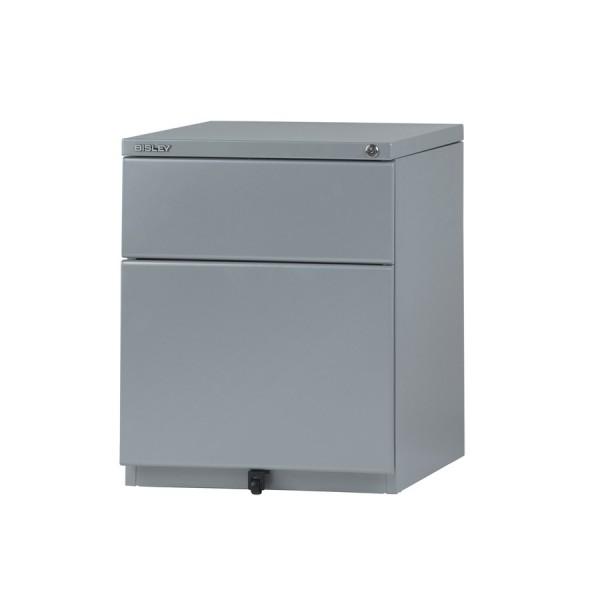 Rollcontainer OBA59, 1 Schublade 150 mm, 1 HR-Schublade, 25 mm Abdeckplatte, stahlsilber