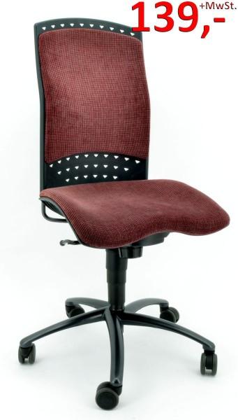 Bürodrehstuhl Reality mit Rückenpolster - rot - von Sitag