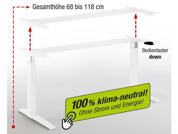 Tischgestell weiß - pneumatisch höhenverstellbar - 100 % klimaneutral - kein Stromverbrauch