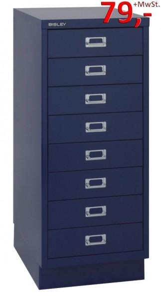 Bisley Schubladenschrank DIN A4, 8-Schubladen, mit Sockel, blau - Neuware