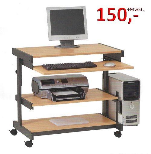 PC-Tisch Maxi N - höhenverstellbar, Buche / anthrazitmetallic - Vielhauer