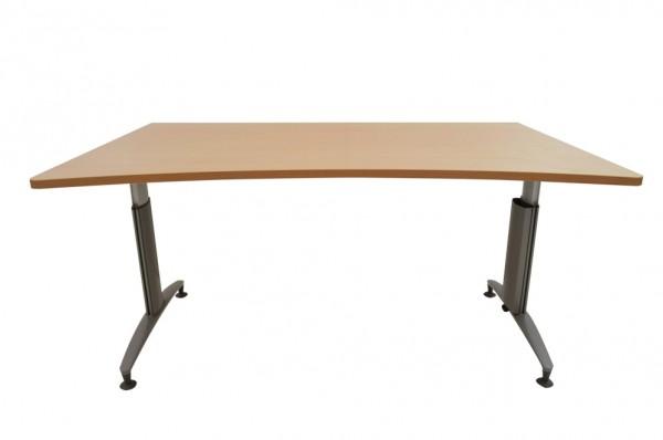 Schreibtisch, manuell höhenverstellbar mit Kurbel, Platte Buche