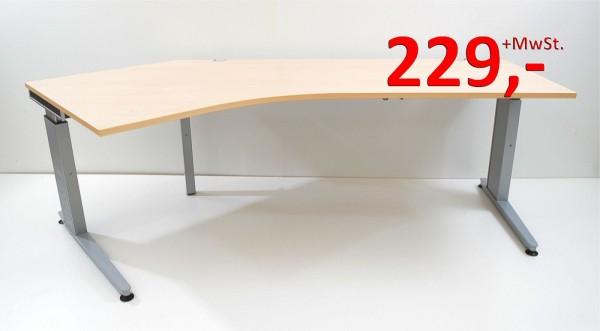 Freiform-Schreibtisch - 235 cm, höhenverstellbar - Ahorn - König + Neurath