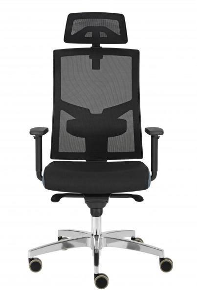 Drehstuhl VSDP2/D Premium HY2A Netzrücken, schwarz - mit Vollausstattung