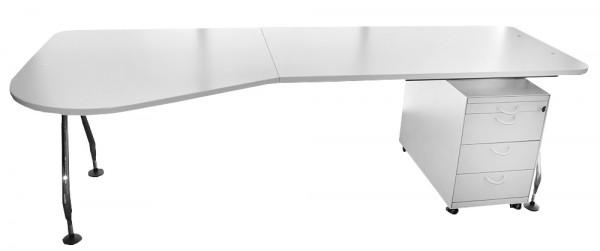 Freiform-Schreibtisch Ad Hoc - 240 cm - mit Rollcontainer - Vitra