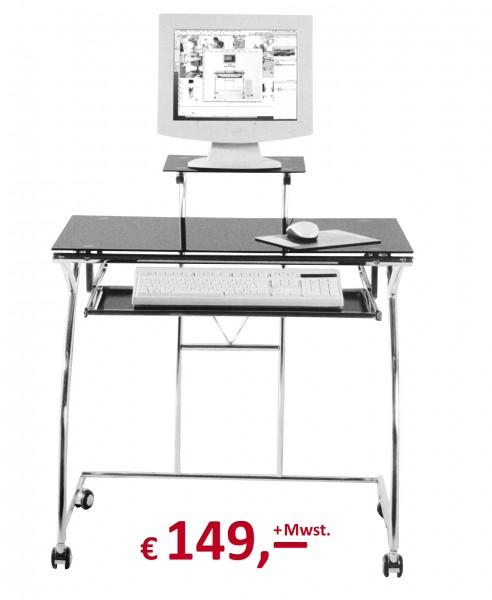 Kare Design - Computer-Tisch - Black-Glas - chrom