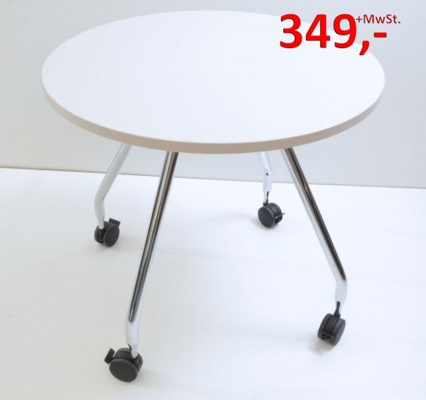 Besprechungstisch Ad Hoc - 80 cm rund, auf Rollen - warm grey - Vitra