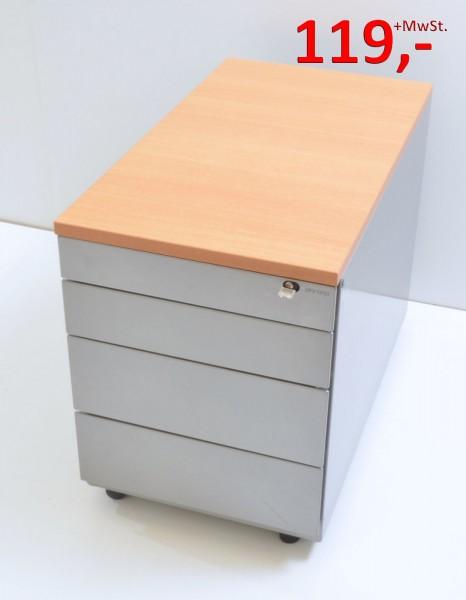 Rollcontainer - 3 Schubladen - silber, Deckplatte Buche - Ahrend