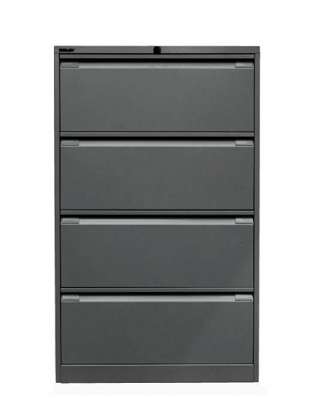 Bisley Hängeregistraturschrank DF4 mit Griffleiste - doppelbahnig - 4 HR-Schubladen - DIN A4 - anthr