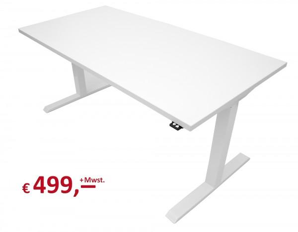 Schreibtisch - elektr. höhenverstellbar - Platte Icy White - Gestell weiß - 160 x 80 cm