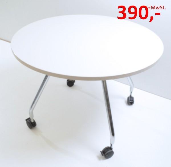 Besprechungstisch Ad Hoc - 100 cm rund, auf Rollen - warm grey - Vitra