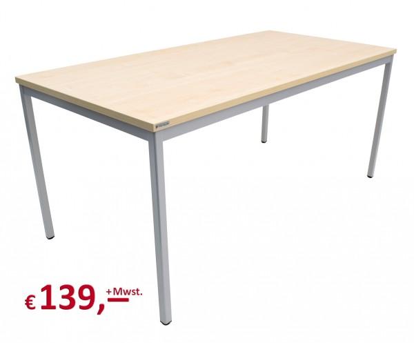 Vielhauer - Beistelltisch - 160 cm - Dekorplatte: Ahorn - Gestell: 4-Kant alufarbig
