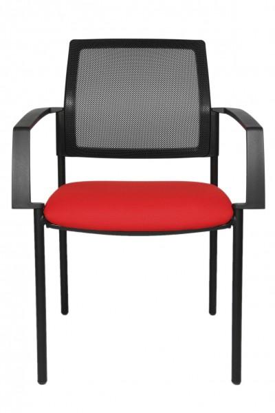 Topstar - Polster-Stapelstuhl, stapelbar, Freischwinger, Netz-Rückenlehne, 4-Fuß, rot