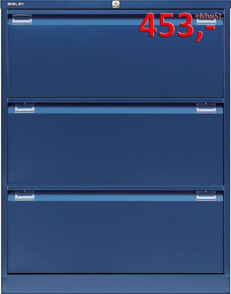 Bisley Hängeregistraturschrank DF3839, 3 HR-Schubladen, DIN A4, oxfordblau glatt lackiert