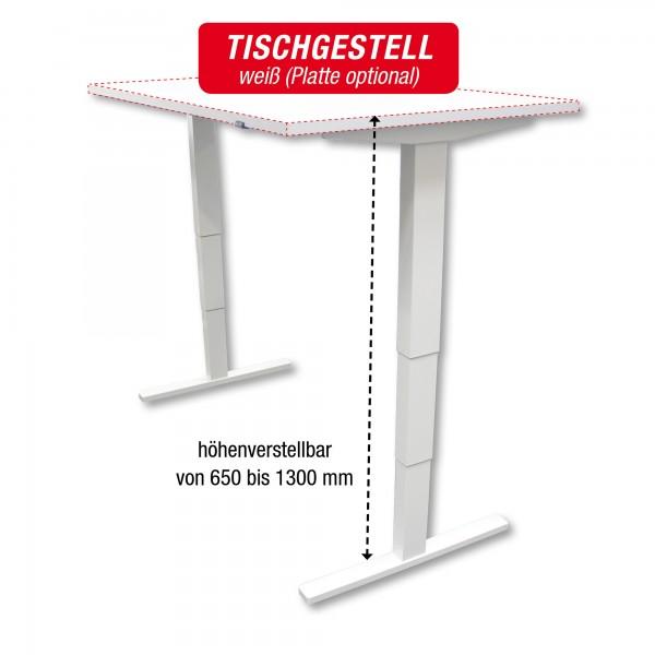 Tischgestell weiß - elektrisch höhenverstellbar - Breite: 140 bis 200 cm - zur Selbstmontage