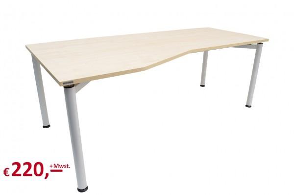 Vielhauer - System-Komfort Schreibtisch - Cockpit-Tisch - Platte: Ahorn Dekor - Gestell: alusilber -