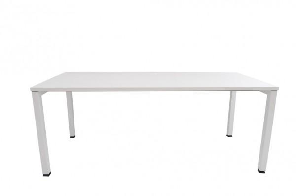 Schreibtisch, weiß, höhenverstellbar, verstellbare Drehfüße, Höhe 72-90cm