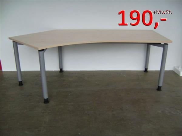Freiform-Schreibtisch - 217 cm - links + rechts - Ahorn - Assmann