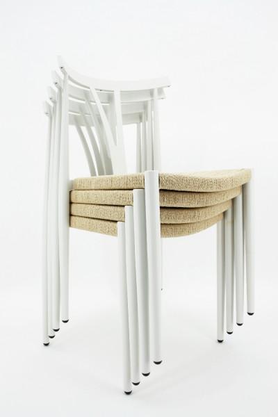 Besucherstuhl Alfa Chair im 4er-Set - weiß mit Naturrattan - DanForm