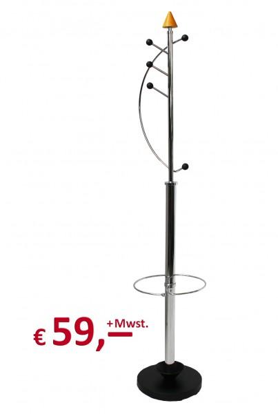 Design-Garderobe mit Schirmständer - Metall: chrom - Standfuß schwarz - Buche massiv