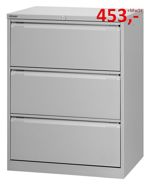 Bisley Hängeregistraturschrank 3643807, 3 HR-Schubladen, DIN A4, stahlsilber glatt lackiert